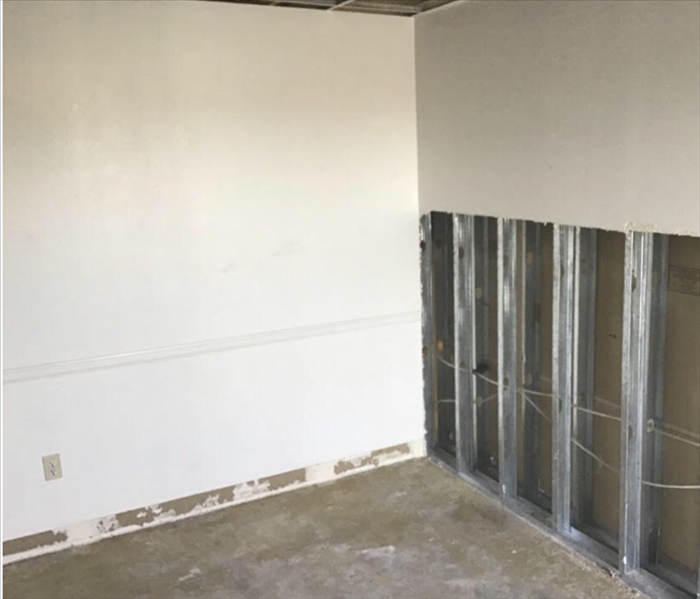 After the dry-out process, SERVPRO removed affected materials. This included cutting and removing drywall and pulling base bo
